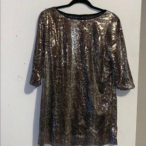 Alexia Admor Sequined Snake Print Mini Dress M